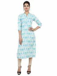 Womens Straight Fit Cotton Printed Kurta