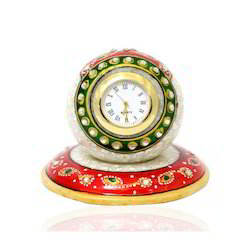Table Round Clock Yellow Red Stone