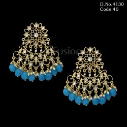 Traditional Designer Kundan Chandbali Earrings