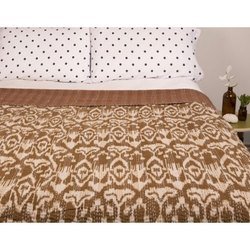 Ikat Kantha Bed Cover