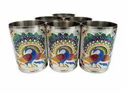 Stainless Steel Handmade Meenakari Peacock Design Decorative Glass Set for Home  Set of 6 Glass