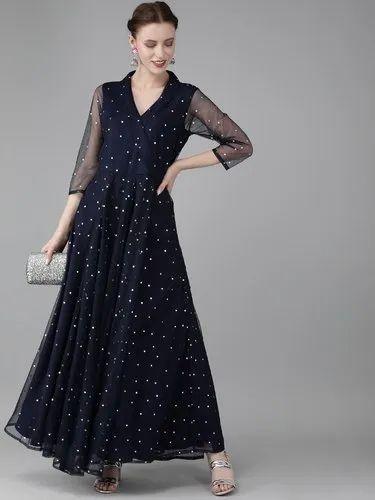 Women Navy Blue & Silver Toned Printed Maxi Dress