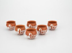 Clay Jully Cup Set (150ml) White Painting (Swans)
