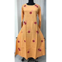 Party Wear Full Sleeve Cotton Flex Long Gown Pattern Kurti, Size: XL, XXL