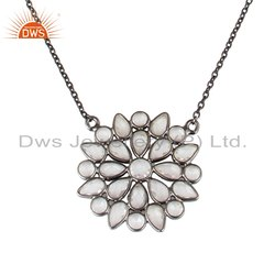Black Rhodium Plated Silver Flower Design CZ Chain Pendant