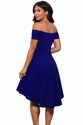 26fae3438ccd Blue Plain Women Off The Shoulder Short Sleeve High Low Hem Club Cocktail Skater  Dress