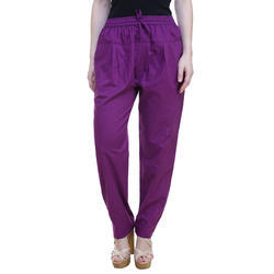 Cotton Purple Ladies Plain Pyjama, Waist Size: 26, 28 & 30