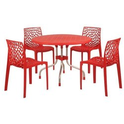 1 Table,4 Chair Red Restaurant Plastic Dining Table, Seating Capacity: 4