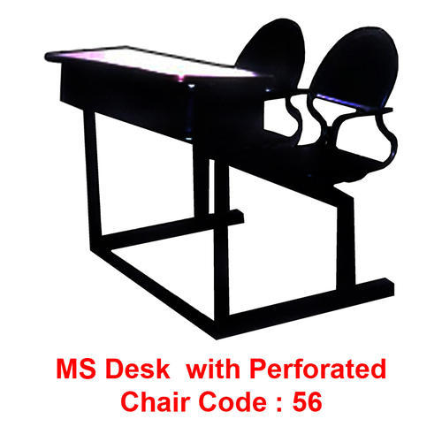 Ms Desk With Perforated Chairs
