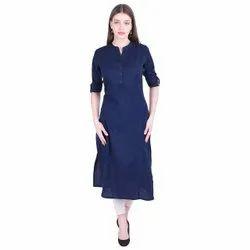 Knee Long Round Neck Women Solid Cotton Blend Straight Kurta, Wash Care: Machine wash