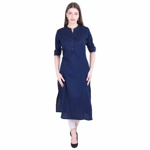 Women Solid Cotton Blend Straight Kurta
