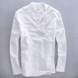 Dione Martin Plain White Casual Mens Cotton Shirt