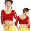 Abhi Stretchable Blended Fabric Ladies Blouse with Net Three Quarter Sleeves
