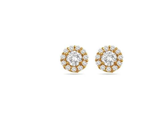 Velvetcase 14kt Gold Stud Earring White And Yellow