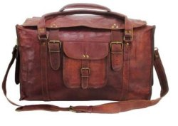 Brown Solid Leather Duffel Bag