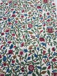 Cotton Multi Floral Heavy Hand Embroidered Crewel Fabric