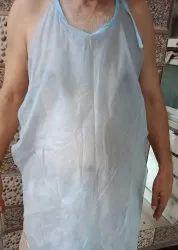 Cotton Blue Disposable Nonwoven Apron, Size: Medium