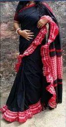 Ladies Khadi Cotton Plain Black Saree
