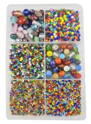 eshoppee 300 gm Multi Color and Mix Shapes Glass Seed Beads