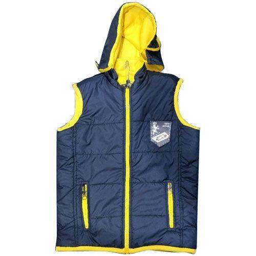 381c3328f1e1 SK Enterprises Blue And Yellow Kids Boys Sleeveless Hooded Jacket ...