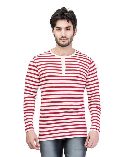 Full Sleeves Striped Henley Neck T-Shirt for Men, Size: S to XXL