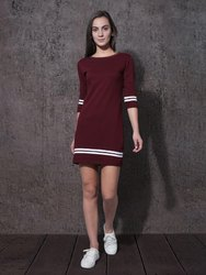 Ladies Maroon One Piece Dress