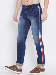 Blue Cotton Men Whisker Jeans