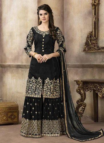 a8b872a3fdb3d Upada Silk Green Designer Semi-Stitched Sharara Suits
