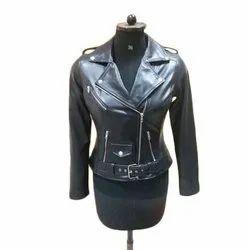 Ladies Black Slim Fit Biker Jacket, Size: S-xxl