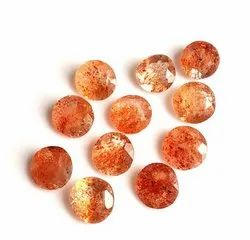 Natural Sunstone Faceted Round Loose Gemstone
