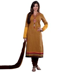 Yellow & Brown Colored Unstitched Casual Salwar Suit