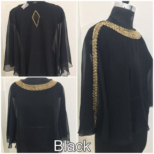 e365a485232325 Ladies Georgette Black Plain Poncho