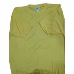 Anishka Enterprises Yellow Mens Plain Cotton Custom T Shirt