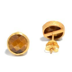 Tiger Eye Micron Gold Plated Beautiful Handmade Womens Jewelry Earstud