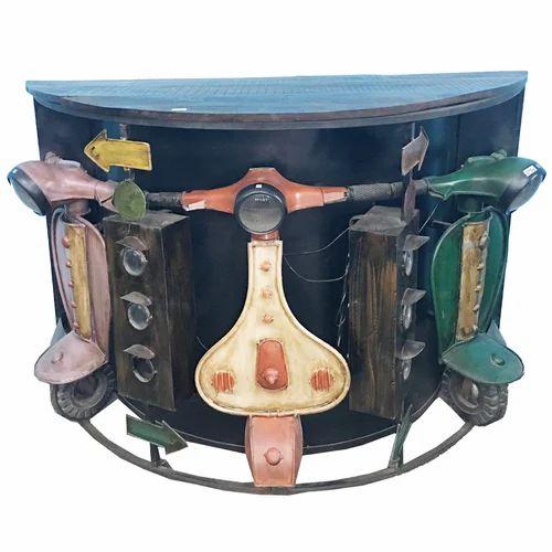 Lalji Handicrafts Multicolor Iron Vintage Bar Counter ब र