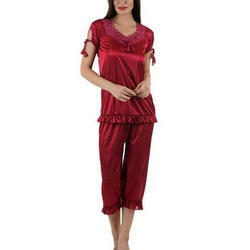 Ladies Maroon Satin Nighty Pajama
