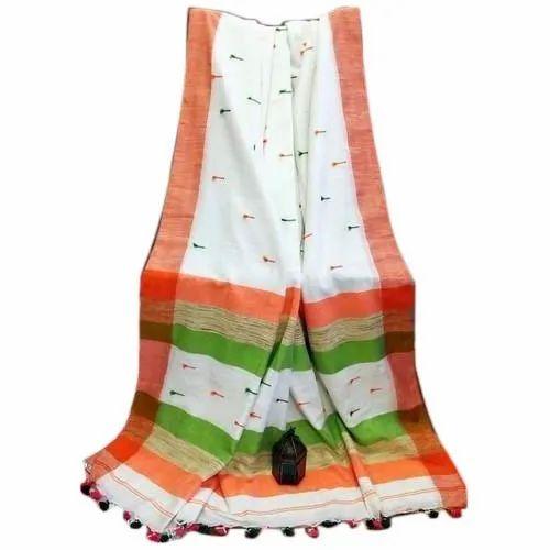 Khadi Cotton Saree, 6.3 m With Blouse Piece