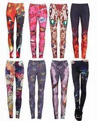 Aishwaryam Multicolor Printed Ladies Leggings, Straight Fit