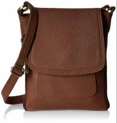 Brown PU Leather Women's Sling Bag (Tan) for Casual Wear