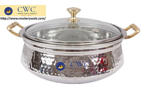 Stainless Steel Serving Handi Bowl With Gl Lid 425 Ml