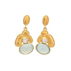 Chalcedony Gemstone Gold Plated Earrings