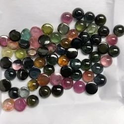 Natural Multi Tourmaline Stone Smooth Round Cabochon