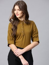 Hosiery Plain Women Olive Green Solid Shirt Style Top