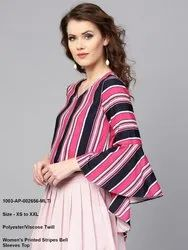 Printed Stripes Bell Sleeves Top