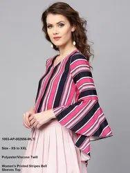 Women's Printed Stripes Bell Sleeves Top
