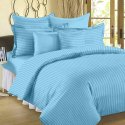 Plain Satin Strips Bed Sheets Including Pillow Covers