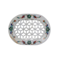 White Marble Soap Dish With Inlay Work