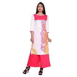White And Pink Rayon Kurti