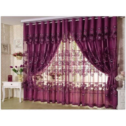 Maroon Plain Decorative Window Curtains