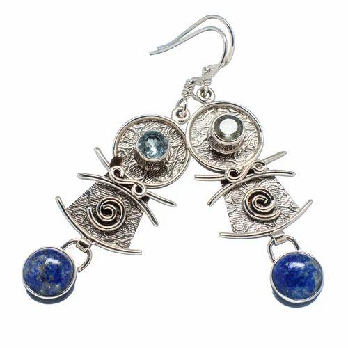925 Sterling Silver Lapis Lazuli Blue Topaz Earrings